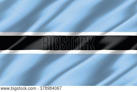 Silk Wavy Flag Of Botswana Graphic. Wavy Batswana Flag 3d Illustration. Rippled Botswana Country Fla