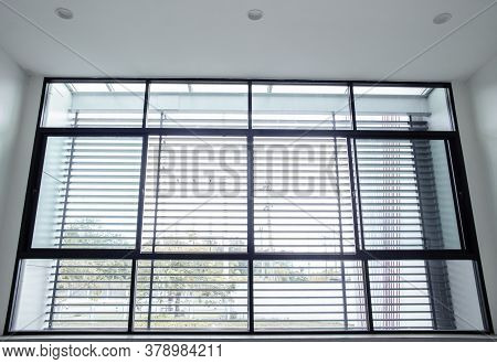 Curtain Window With Factory Industry Background, Transparent Mirror Window Frame With Curtain To Pro