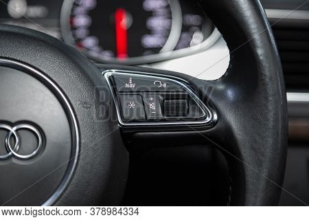 Novosibirsk/ Russia - July 27 2020: Audi A7, New Black Steering Wheel With Multifunction Buttons For
