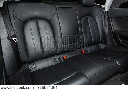 Novosibirsk/ Russia - July 27 2020: Audi A7, Rear Passenger Seats In Modern Car, Frontal View