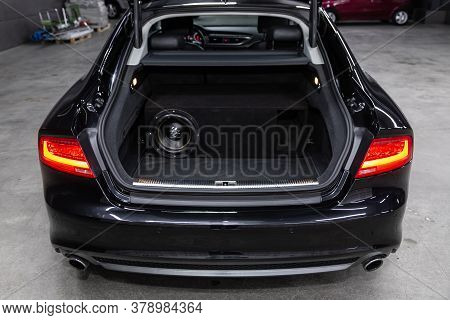 Novosibirsk/ Russia - July 27 2020: Audi A7, Rear View Of A Car With An Open Trunk. Exterior Of A Mo