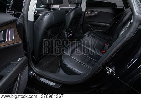 Novosibirsk/ Russia - July 27 2020: Audi A7, Leather Interior Design, Car Passenger And Driver Seats