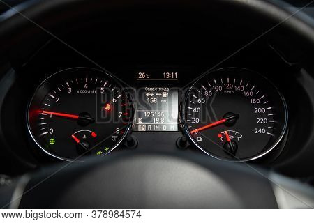 Novosibirsk/ Russia - July 18 2020: Nissan Qashgai,  Dashboard Of The Car Is Illuminated By Bright I