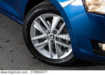 Novosibirsk/ Russia - July 18 2020: Scoda Rapid, Car Wheel With Alloy Wheel And New Rubber On A Car