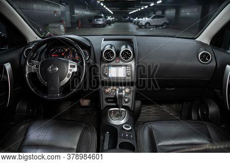 Novosibirsk/ Russia - July 18 2020: Nissan Qashgai, Luxury Car Interior - Steering Wheel, Shift Leve