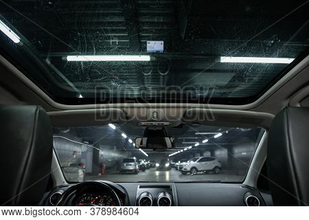 Novosibirsk/ Russia - July 18 2020: Nissan Qashgai, Close-up Of The Hatch On Panoramic Roof. Modern