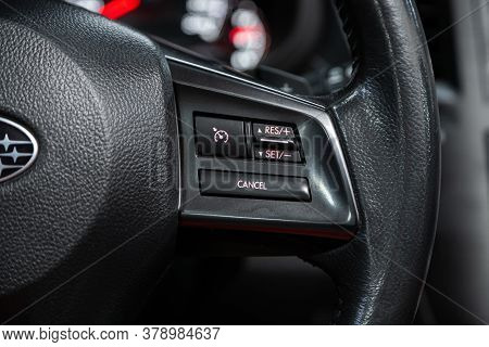 Novosibirsk/ Russia - July 18 2020: Subaru Outback, New Black Steering Wheel With Multifunction Butt