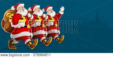 Christmas holiday. Santa Clauses in row group parade with full sacks of christmas gifts walking, waving and smiling. Isolated on gray background. 3D illustration.