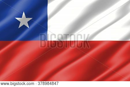 Silk Wavy Flag Of Chile Graphic. Wavy Chilean Flag 3d Illustration. Rippled Chile Country Flag Is A