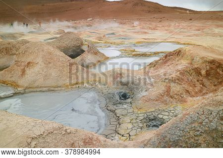 Boiling Mud Lakes In Sol De Manana Or The Morning Sun Geothermal Field, Potosi Department Of Bolivia