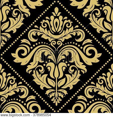 Classic Seamless Pattern. Damask Orient Ornament. Classic Vintage Background. Orient Black And Golde