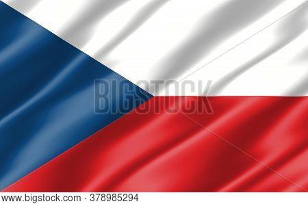 Silk Wavy Flag Of Czech Republic Graphic. Wavy Czechia Flag 3d Illustration. Rippled Czech Republic
