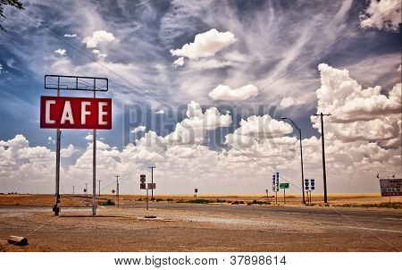 Cafe sign along historic Route 66 in Texas.
