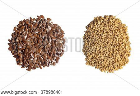 Linseeds And Sesame Seeds. Flax And Sesame Seeds Isolated On White Background. Flax And Sesame Seed