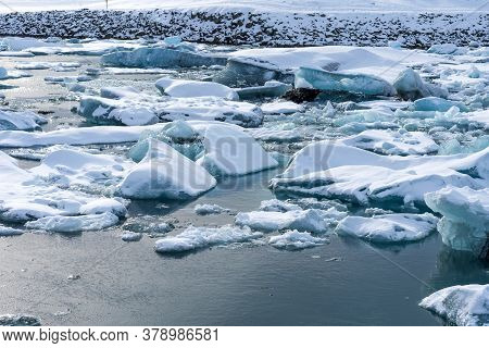 Picturesque Winter Landscape View Of Jokulsarlon Lagoon, Iceland.