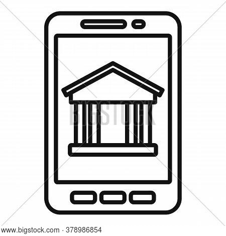 Smartphone Bank Online Loan Icon. Outline Smartphone Bank Online Loan Vector Icon For Web Design Iso