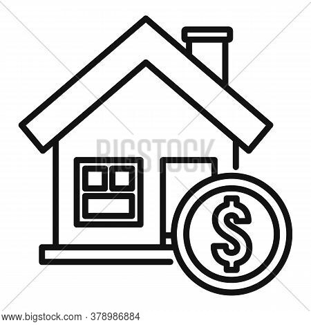 House Buy Online Loan Icon. Outline House Buy Online Loan Vector Icon For Web Design Isolated On Whi