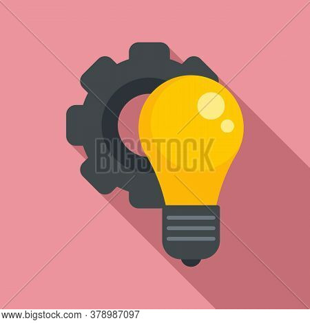 Gear Bulb Innovation Icon. Flat Illustration Of Gear Bulb Innovation Vector Icon For Web Design