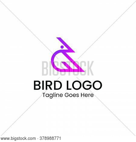 The Logo That Forms A Bird With Pink And Purple Gradient Colors. Has A Modern, Clean, And Profession