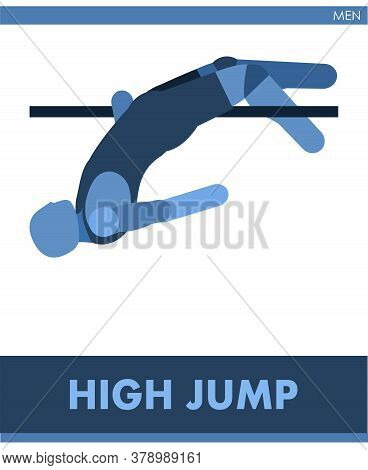 High Jump Pictogram. Man Competes In High Jumping. Icon Of Sportsman Track And Field. Men Or Boys At