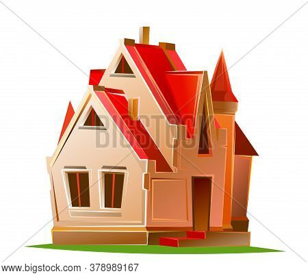 Cartoon House. Cozy Cottage With A Red Roof. Isolated Vector Object On White Background. Beautiful B