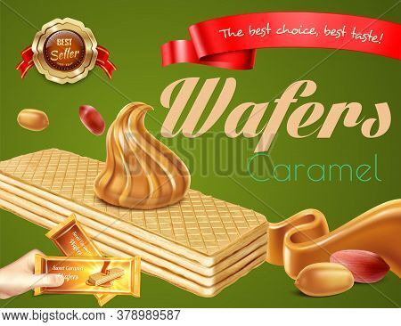 Delicious Caramel Wafers With Nuts Realistic Advertisement On Green Background Vector Illustration