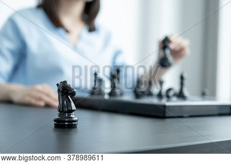 Knight Standing In Front Of People Hand Move Chess With Strategy And Tactic To Win Enemy, Play Battl