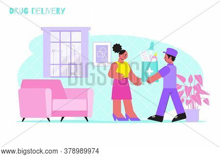 Drug Delivery Background With Courier And Consumer In Home Interior Flat Vector Illustration