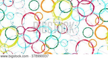 Multicolored Abstract Grunge Hand Drawn Circle Stamps Textile Print On White Background. Circular Sp