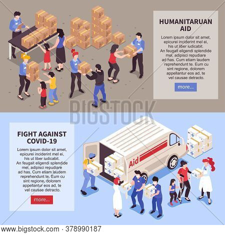 Isometric Set Of Two Horizontal Humanitarian Support Banners With People Helping Needy And Infected