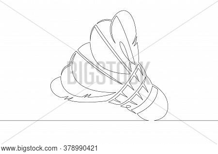 One Continuous Drawing Line Logo Feather Shuttlecock Badminton .single Hand Drawn Art Line Doodle Ou