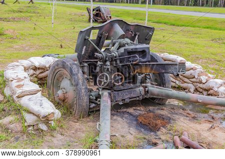Remains Of A Captured Burned-out Light Cannon From The Second World War