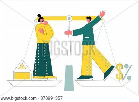 Mortgage Vector Illustration. Flat Tiny House Purchase Debt Persons Concept. Buy Real Estate And Pay