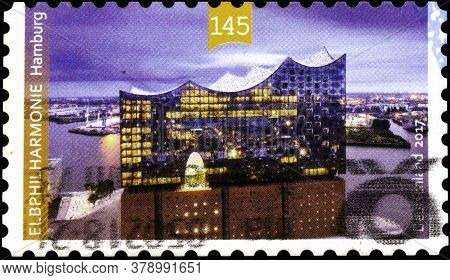 02 09 2020 Divnoe Stavropol Territory Russia The Postage Stamp Germany 2017 Opening Of The Elbphilha