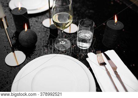 Table setting, luxury silverware and tableware