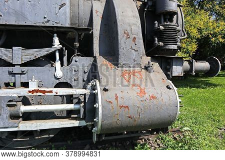 Part Of An Old Locomotive Outdoor Day