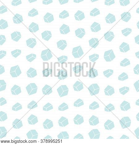 Ice Cubes. Crystals. Seamless Crystal Ornament. Repeating Vector Pattern. Outline On An Isolated Col