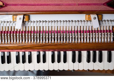Top View Of Harmonium Classical Indian Musical Instrument.