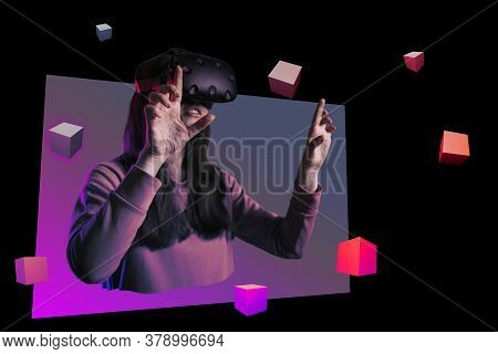 Collage, Girl In Vr Glasses Is Playing A Game Or Exploring Virtual Reality. A Young Female Gamer And