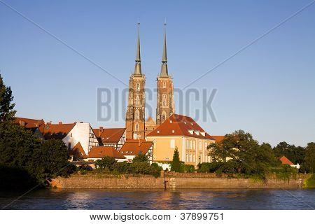 Poland, Wroclaw Cityscape In Evening