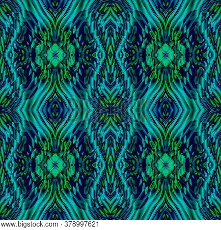 Abstract Geometric Seamless Retro Background. Regular Ornate Diamond Pattern Blue, Turquoise And Gre
