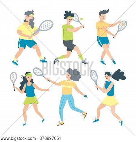 Set Of Men And Women Playing Tennis. Sportsmen And Sportswomen