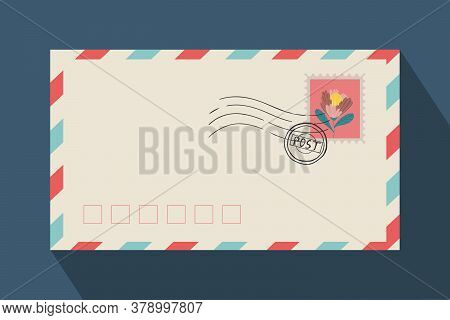 Postage Envelope For Letters And Postage With Stamp. For Congratulations, Valentines And Love Letter