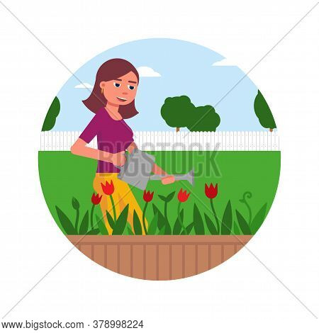 Happy Smiling Young Woman Character Watering Blooming Flowers From Can In Front Garden. Pretty Girl
