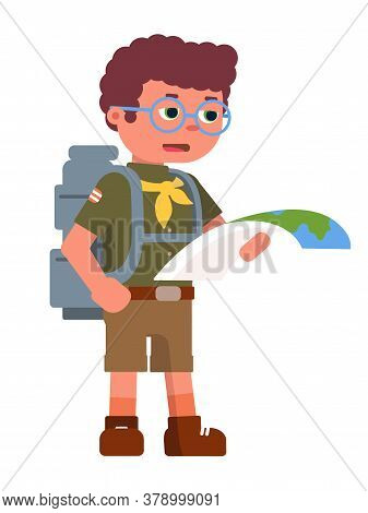 Serious Boy Scout Holding Paper Map For Navigation. Concentrated Teenager Wearing Eyeglasses, Suit,