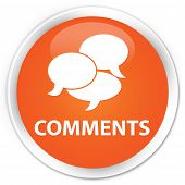 Comments icon on glossy orange round button poster