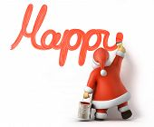 Santa writes Happy New Year, 3d image with work-path poster