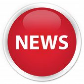 news icon on glossy red round button poster
