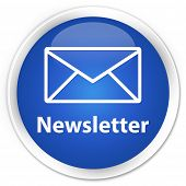 Newsletter icon on glossy blue round button poster