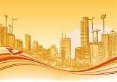 Vector illustration of Big City. Orange urban background with abstract composition of dots and curved lines. poster
